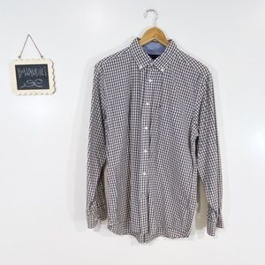 [T. Hilfiger] Gray Checkered Classic Fit Shirt